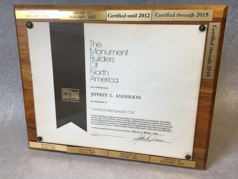 1985-2018 Cerified Memorialist