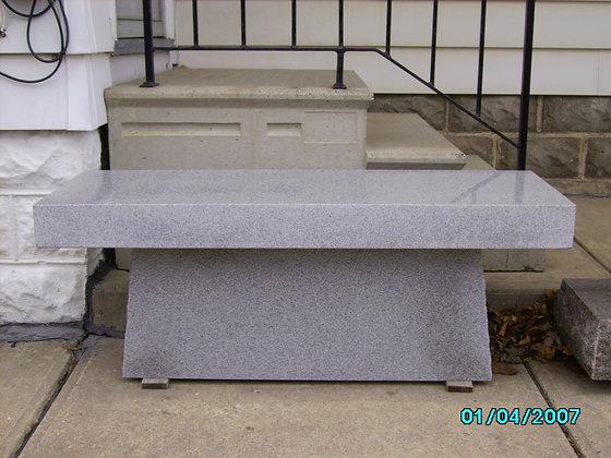 #1280 Light Gray Pedestal Bench