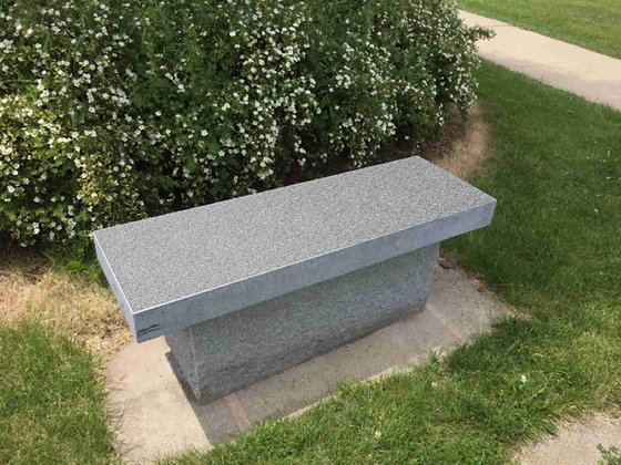 #1542 Gray Bench with Rock Base