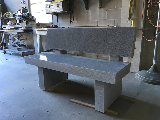 #1535 Light Gray Bench w/ Back