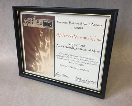 2010 Aspire Award Certificate of Merit
