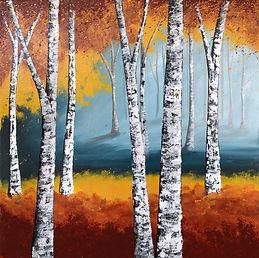 Trail birch tree painting