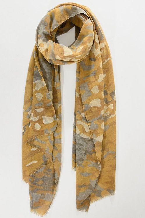 Mustard Gold  Camoflage Print Scarf