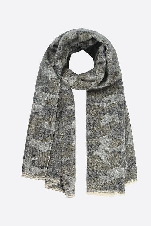 Khaki Camouflage Print Blanket Scarf
