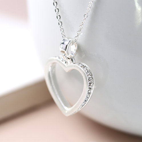 Open Heart With Tiny Inset Crystals Necklace
