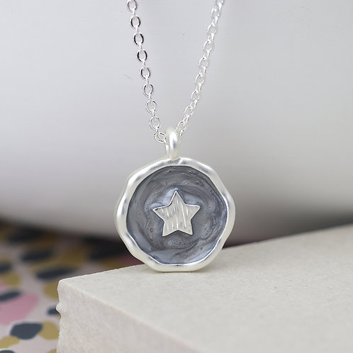 Matt Silver Grey Enamel Star Necklace