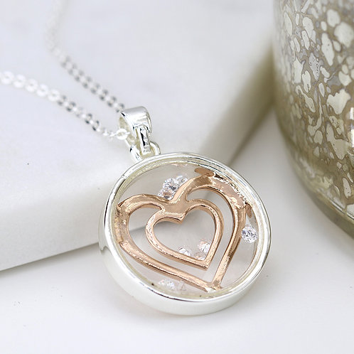 Glass Fronted Pendant with enclosed Hearts Necklace