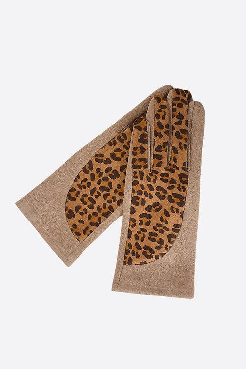 Camel Velvet Gloves Leopard Print Design