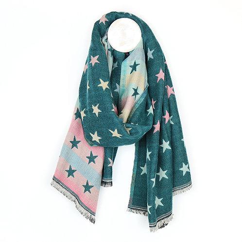 Teal Multicoloured Pastel Jacquard Stars Scarf