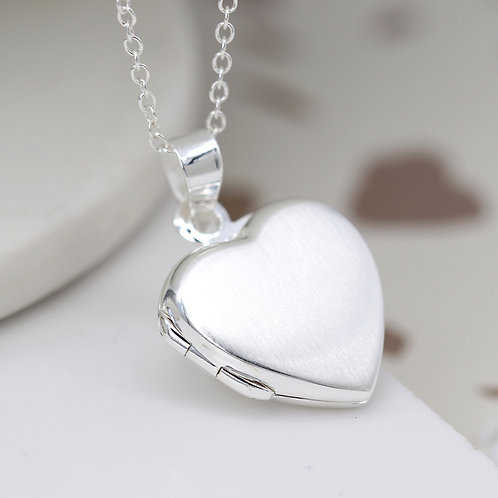 Brushed Silver Heart Locket Necklace