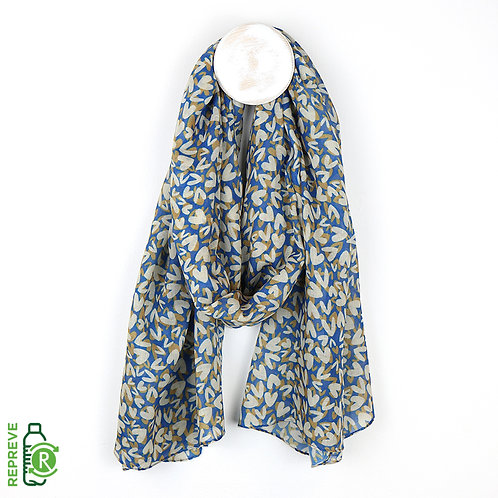Blue\Taupe layered Hearts Printed Scarf