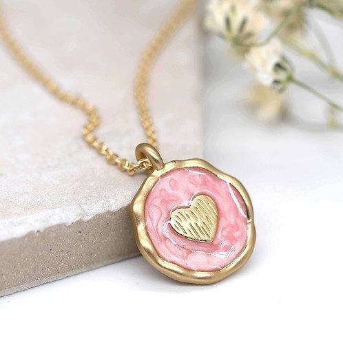 Matt Gold Pink Enamel Heart Necklace