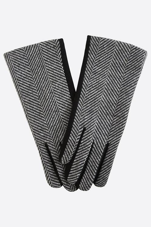 Black Two Tone Herringbone Gloves