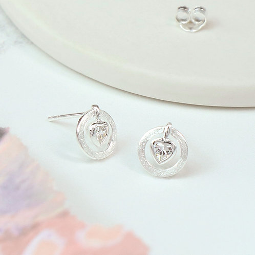 CZ Heart in Circle Studs 925