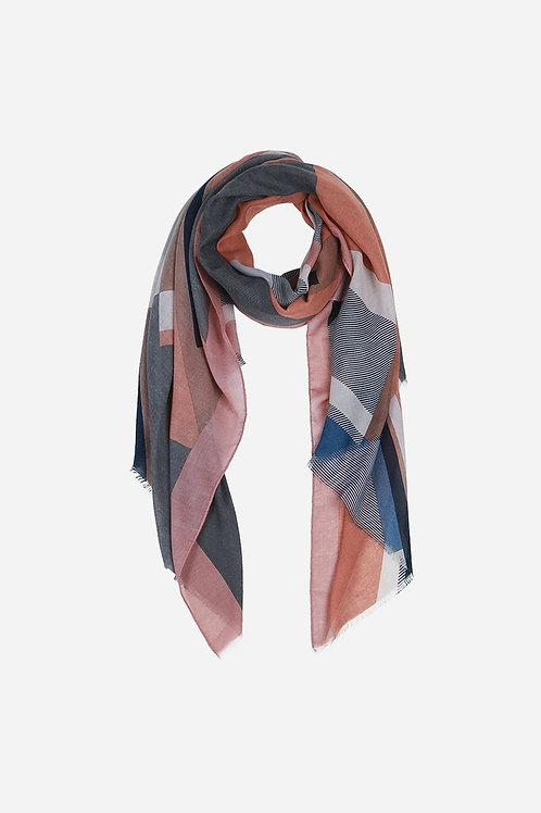 Light Grey Taupe Abstract Striped Scarf