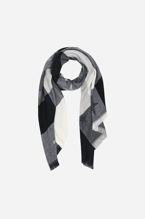 Black Check & Star Print Blanket Scarf