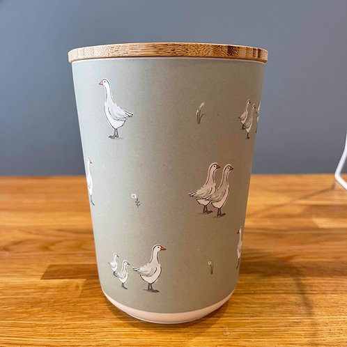 Duck Design Bamboo Storage Jar - Medium