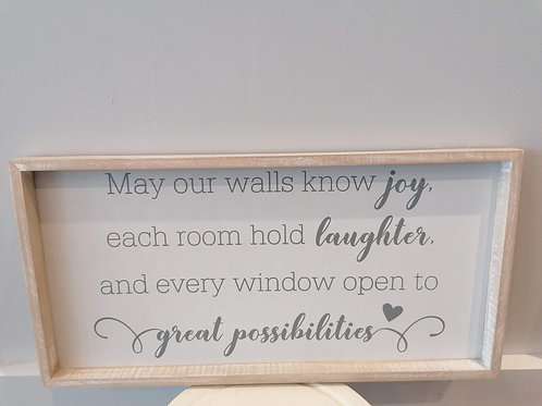 """""""May your walls know joy"""" Plaque"""
