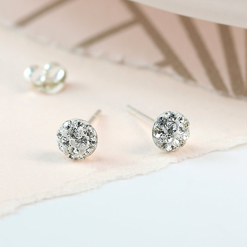 Round Sparkle White Crystal Stud Earrings