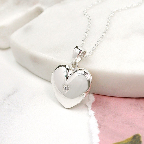 Heart Locket with CZ 925 Necklace