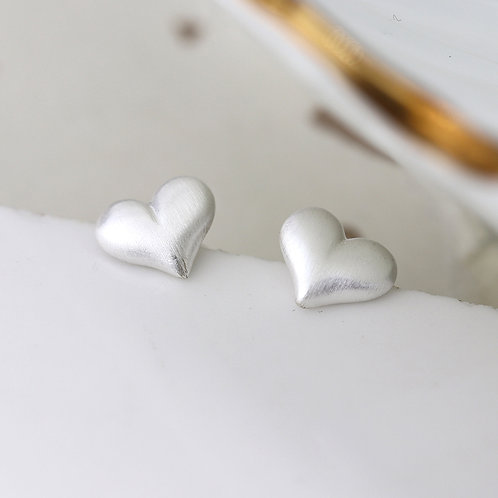 Silver Scratched Puff Heart Stud Earrings