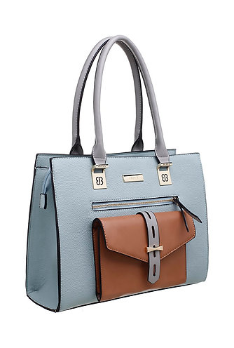 Bessie Three Tone Front Pocket Tote Bag