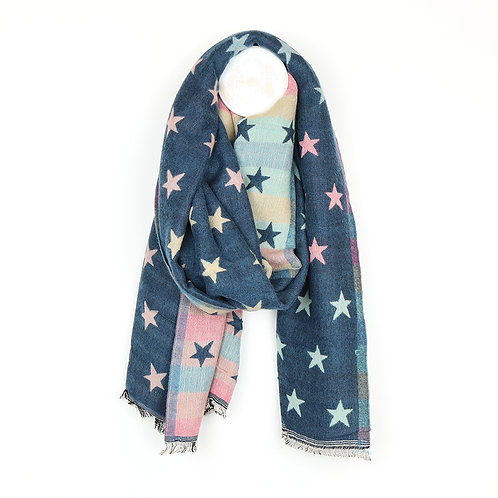 Blue Multicoloured Pastel Jacquard Stars Scarf