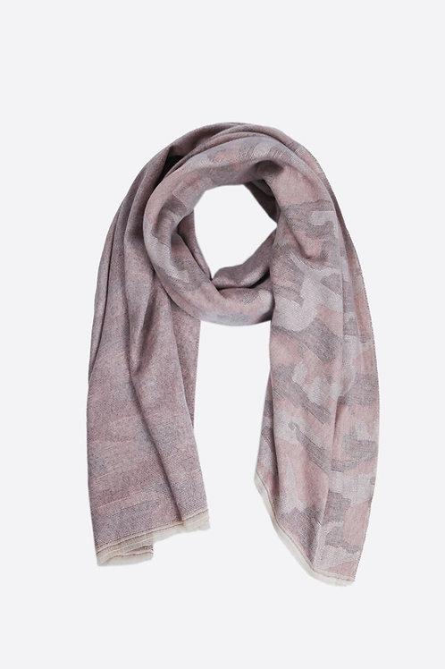 Grey & Pink Camouflage Print Blanket Scarf