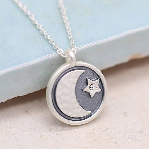 Matt Silver\Grey Enamel Moon\Crystal Star Necklace