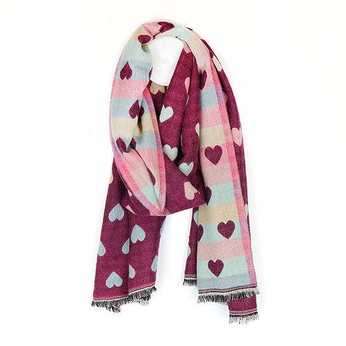 Cherry Multicoloured Pastel Hearts Ombre Jacquard Scarf
