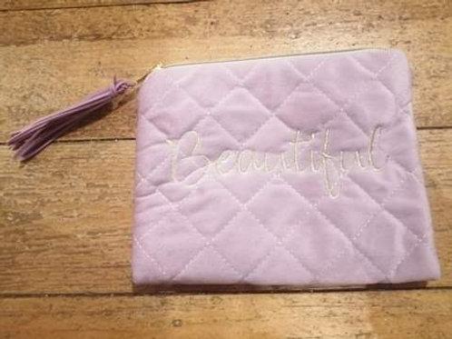 Pink Velvet Make up Bag
