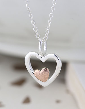 2 Tone Silver\Rose Gold Heart Pendant Necklace