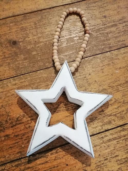 White Wooden Hanging Star