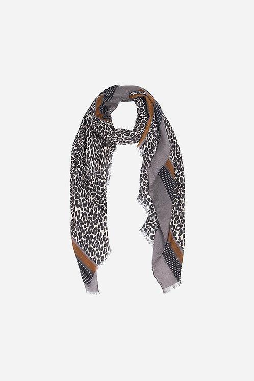 Light Grey Taupe Leopard Print Border Scarf