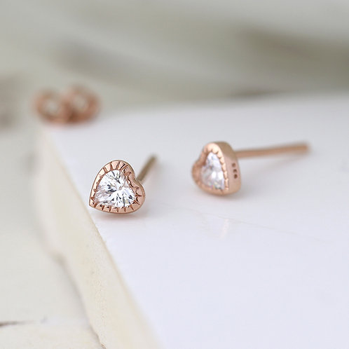 Rose Gold Plated Silver Heart Studs with CZ