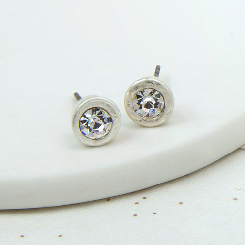 Simple Crystal Studs in Worn Silver Plate