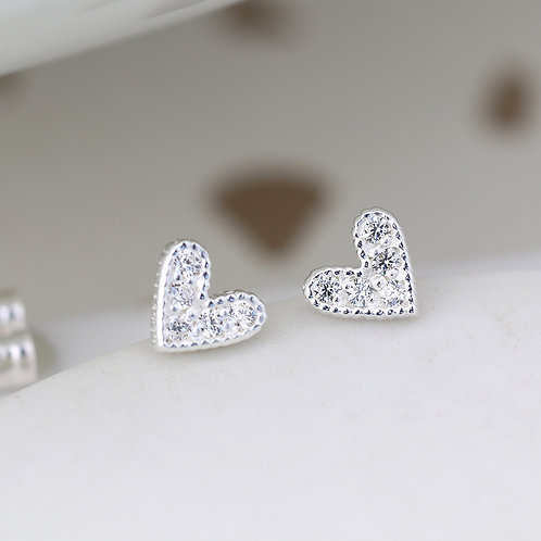 Silver Crystal Heart Stud Earrings