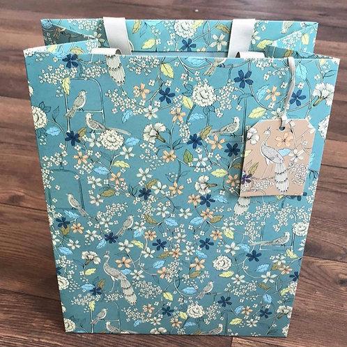 Blue Floral Gift  Bag