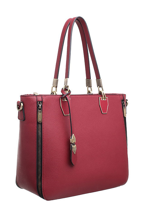 ZIP FEATURE LADY SHOULDER BAG - RED