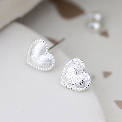 Puffed Scratch Heart Earrings