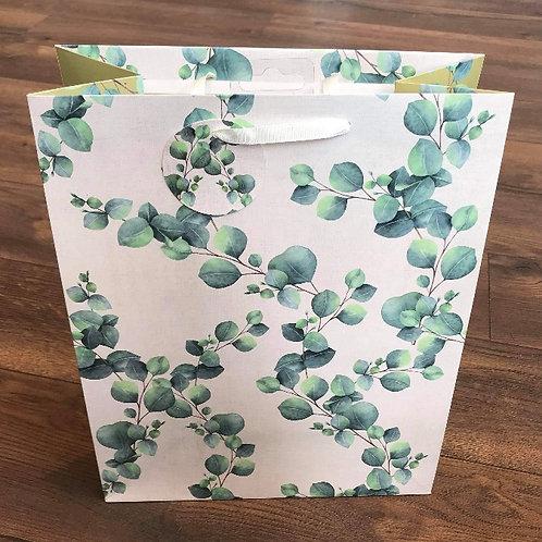 Green & White Leaf Design Gift Bag