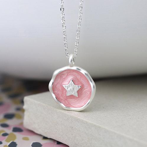 Matt Silver Pink Enamel Star Necklace