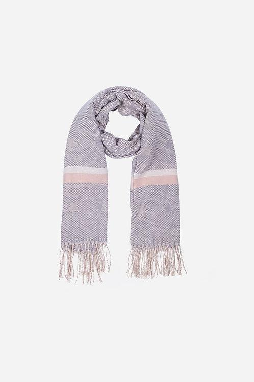 Light Grey\Pink Star & Stripe Tasselled Scarf