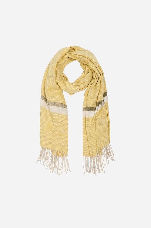 Mustard Khaki Star\Stripe Tasselled Blanket Scard