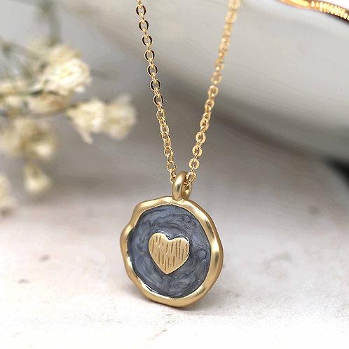 Matt Gold Grey Enamel Heart Necklace