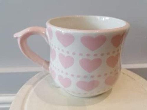 White mug with Pink Love Heart design