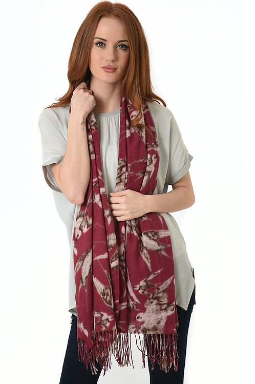 Red Swallow Design with Tassel Scarf
