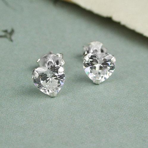 Clear Crystal Heart Stud Earrings