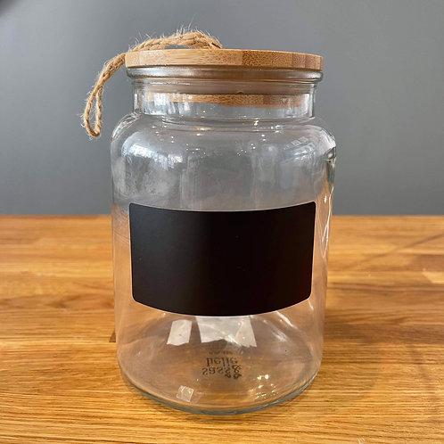 Glass storage jar with chalkboard
