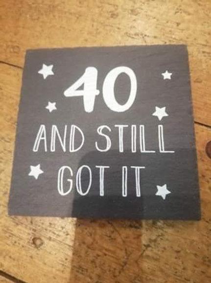 40th Slate Coaster